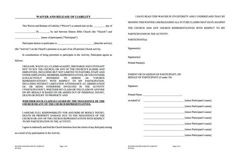 Waivers Dbsm Activity Waiver And Release Form Template
