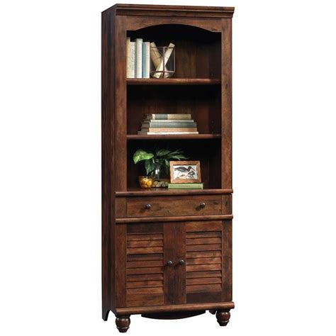 sauder cherry bookcase sauder harbor view 3 shelf 2 door bookcase in curado