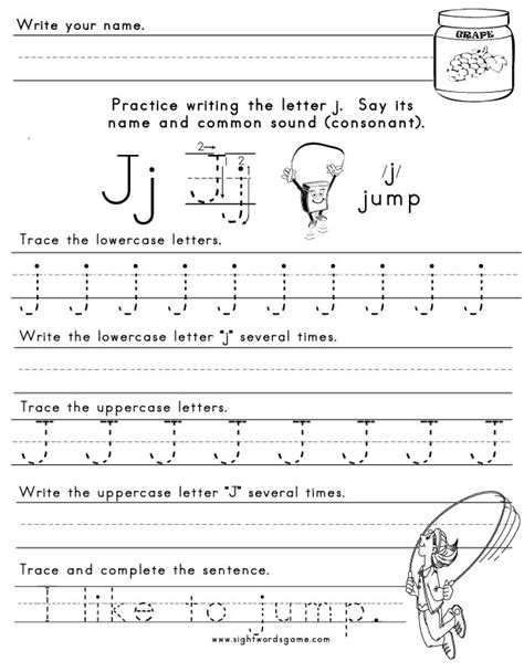 printable worksheets letter j the letter j