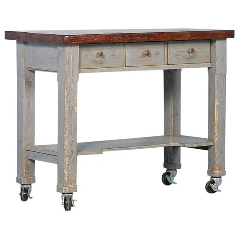 kitchen island table on wheels antique original grey painted kitchen island on casters