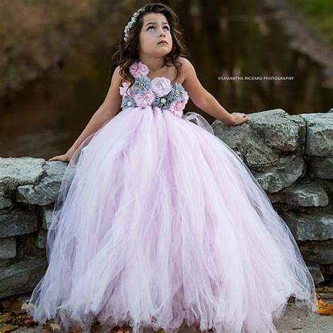 tutu bridal dress pink and grey flower tutu dress wedding tulle dress