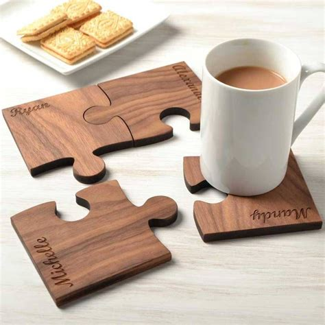 personalised wooden gift set   walnut coasters