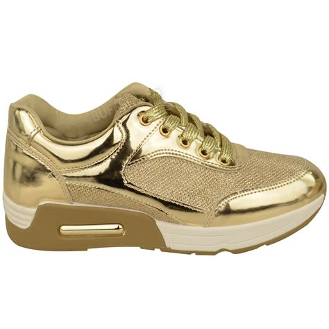 fashion sport shoes womens metallic trainer low top glitter sneakers