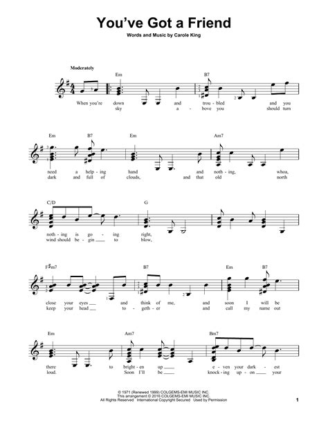 strumming pattern for you ve got a friend in me you ve got a friend sheet music by james taylor easy