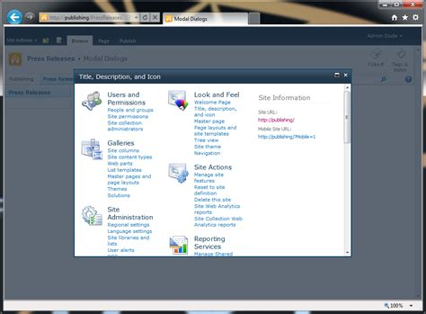 modal title sharepoint 2010 application pages and modal dialogs the