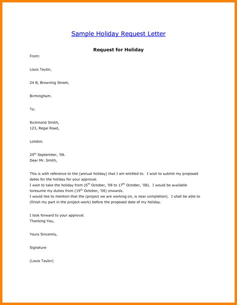 Inquiry Letter For Vacation 6 vacation leave letter sle homed