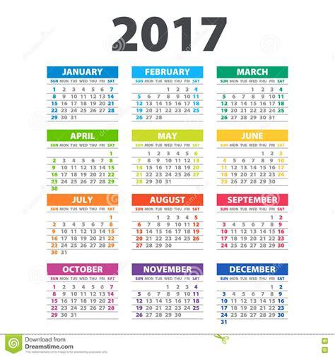 color calendar 2017 calendar illustration vector template of color 2017