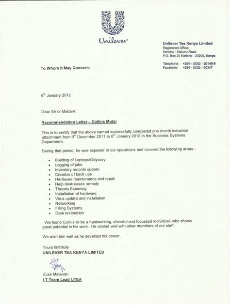 Recommendation Letter Kenya Unilever Tea Kenya Recommendation Letter