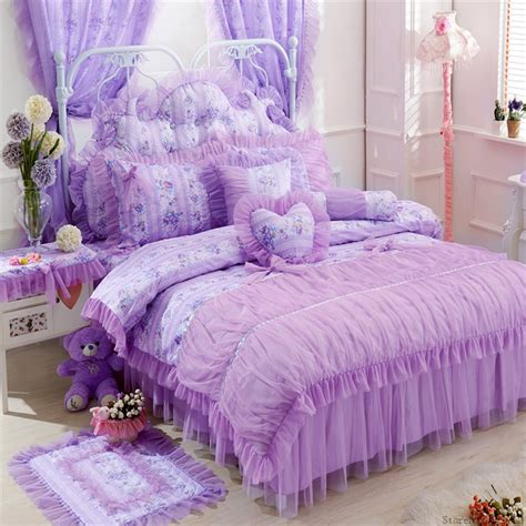 girls bed skirt purple lace korean bedding set bedspread bedshirt beautiful princess style bohemian