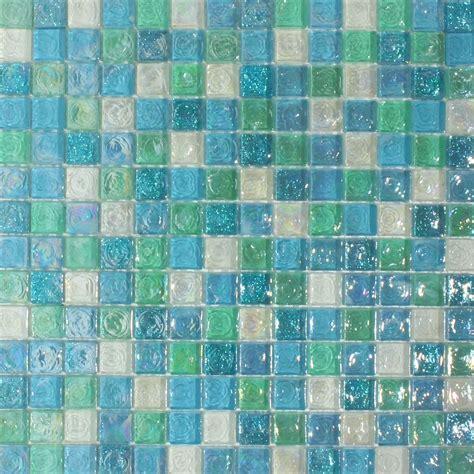 hammered aqua blue mix glass mosaic 20x20 glass mosaic