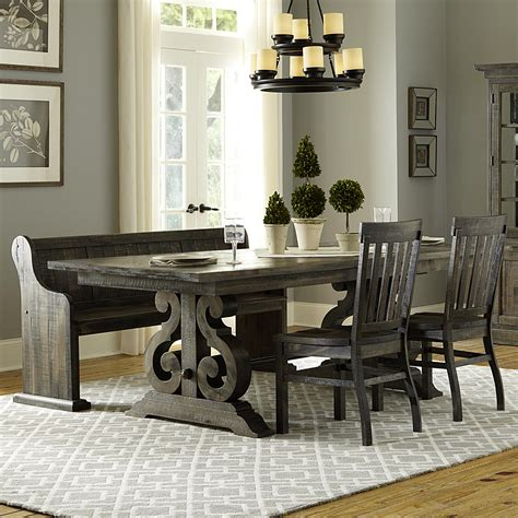 Magnussen Home Bellamy Transitional Four Piece Weathered Magnussen Dining Room Furniture