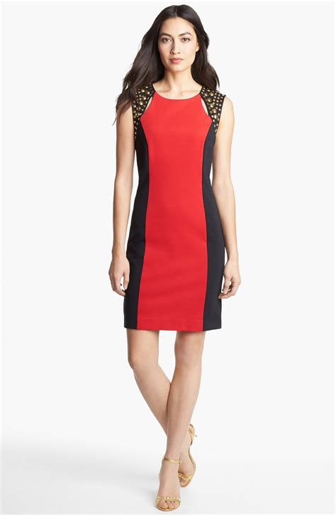 michael michael kors studded shoulder colorblock dress in