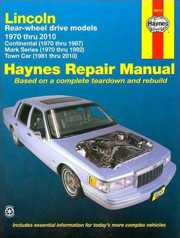 automotive service manuals 1987 lincoln continental electronic valve timing lincoln continental mark series town car 1970 2010 1563928124 9781563928123 haynes