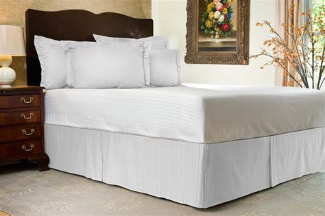 tailored bed skirt 300 tc sateen stripe tailored bed skirt 21 quot drop ebay