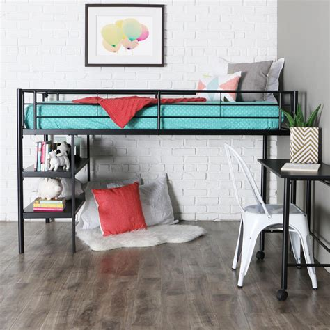 low loft twin bed amazon com we furniture twin low loft metal bed white
