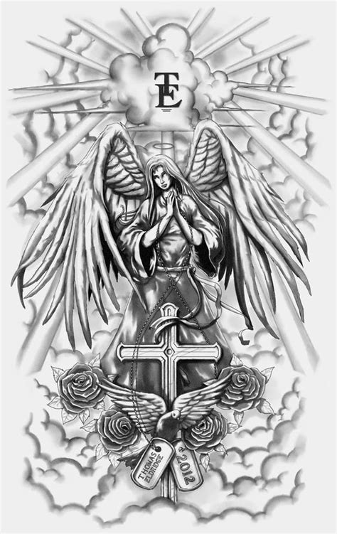 angel tattoo gta v grey ink praying angel with a cross and dove decorated