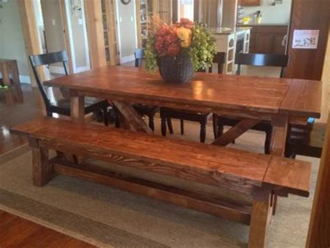 ana white 4x4 truss dining room table and bench diy 4x4 truss beam table and bench do it yourself home