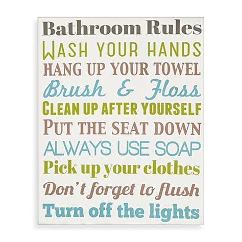bathroom rules for kids bathroom rules wall art bed bath beyond