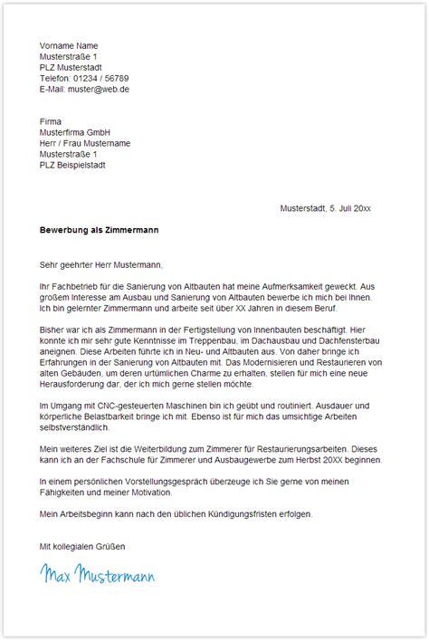 Anschreiben Bewerbung Muster Zimmermann Bewerbungsschreiben Zimmermann