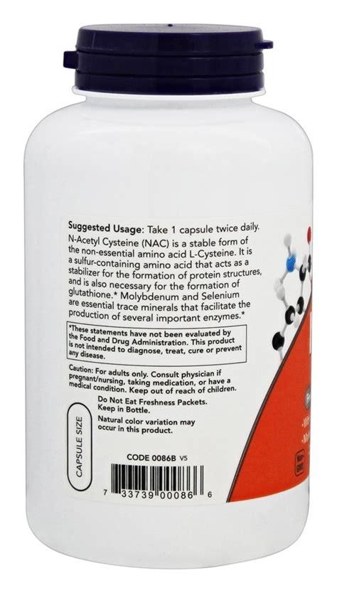 Now Nac N Acetyl Cysteine 600mg 250 Veg Capsules now foods nac n acetyl cysteine 600 mg 250 vegetarian