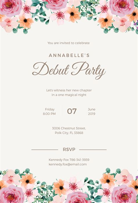 templates for debut invitations free formal debut invitation template in microsoft word