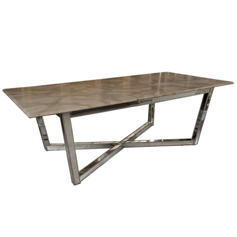 mirrored base faux marble top dining table at 1stdibs