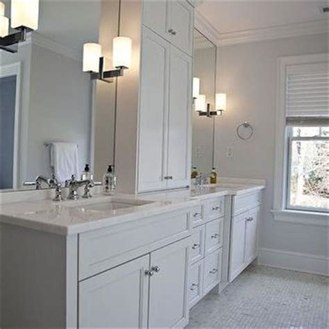 his and her bathroom vanities double vanity with center console traditional bathroom