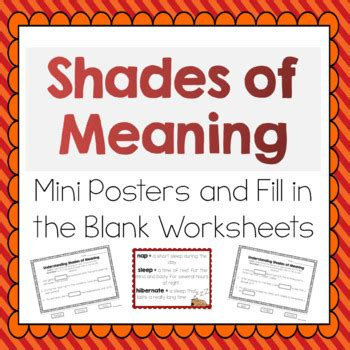 Shades Of Meaning Worksheets by Shades Of Meaning For Verbs And Adjectives Meets Common