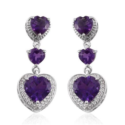Topaz 2 69 Cts lusaka amethyst hrt white topaz earrings in platinum