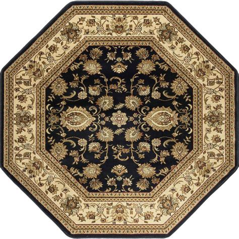 Tayse Rugs Sensation Black 7 Ft 10 In Octagon Octagon Shaped Area Rugs