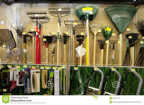 gardening tools  display  store stock image image