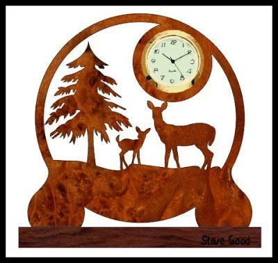 wood pattern coreldraw deer clock scrollsaw workshop patterns pinterest