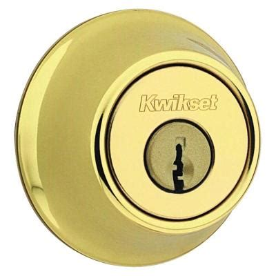 Cylinder Lock Home Depot by Kwikset 665 Series Cylinder Polished Brass Deadbolt