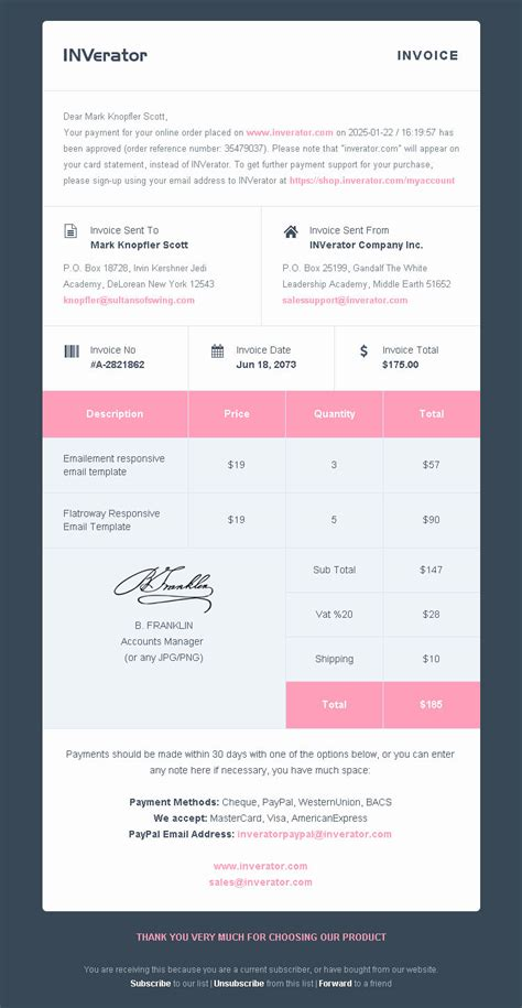 invoice template payment receipt email builder by