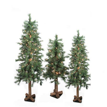 artificial christmas tree 3 pcs sets set of 3 pre lit woodland alpine artificial trees 4 5 and 6 clear walmart