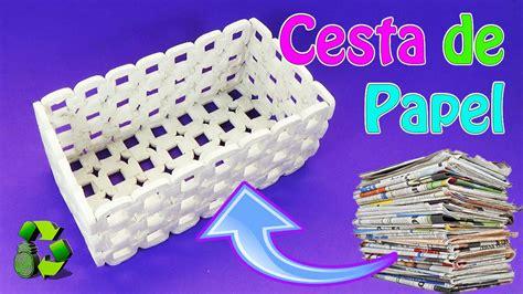 cestos en materiales reciclables manualidades cesta de papel peri 243 dico reciclaje