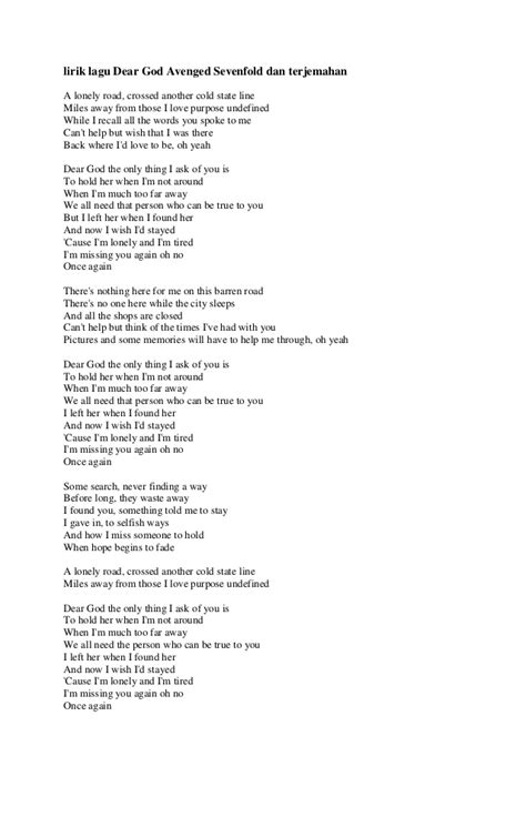 belajar kunci gitar dear god dear god lyrics avenged sevenfold lirik lagu terbaru