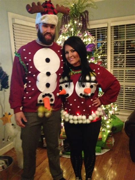 hilarious ugly christmas sweaters  couples oddee