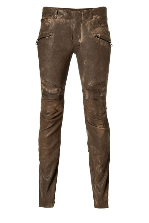 biker pants balmain dark brown leather biker pants in brown for men lyst