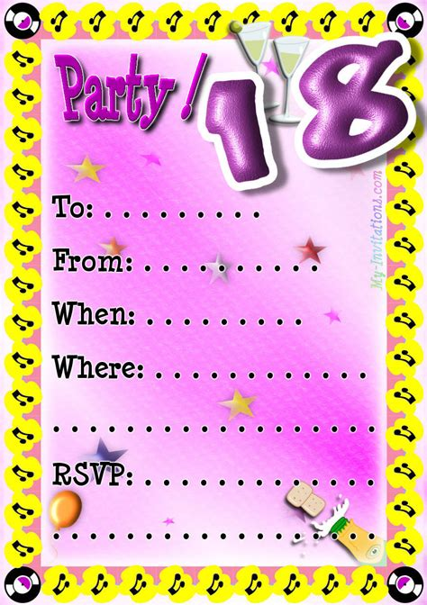 18th birthday invitation templates printable free 18th birthday invitations theruntime