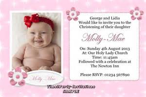 personalised pink girls christening baptism invitations