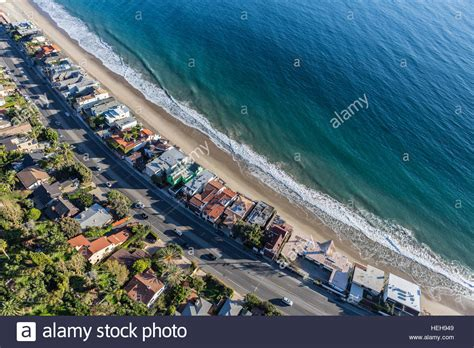 Pch In California - aerial of beach homes along pacific coast highway in malibu stock photo royalty free