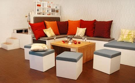 all in one modular fold out living room furniture set