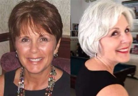 before after gray hair gray hair love this before and after honestly she looks