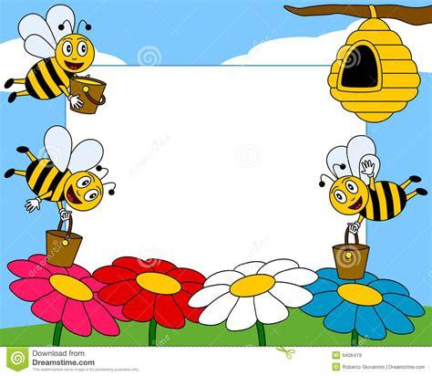 design frame cartoon cartoon bees photo frame 1 stock vector illustration
