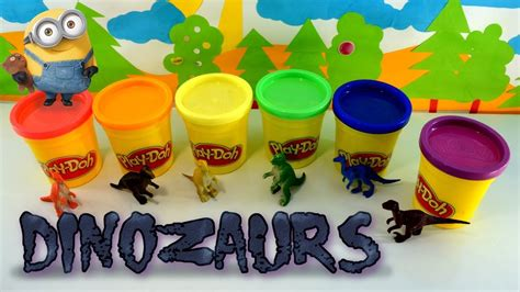 Doh Colors Dinosaurs 1 learning colours with play doh minions and dinosaurs