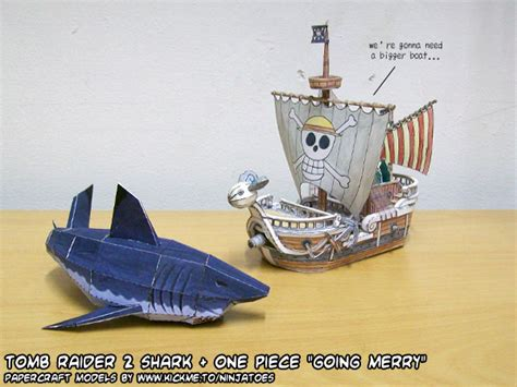 Papercraft Going Merry - papercraft going merry vs great white shark by