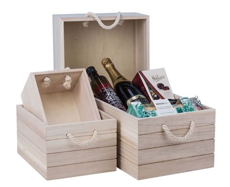 natural wooden crate small  storage box