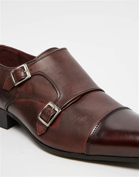 asos monk shoes in burgundy leather with toe cap in purple