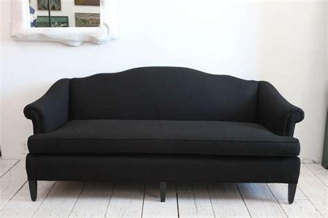 Belgian Linen Upholstery Fabric Vintage Camelback Sofa Upholstered In Black Linen At 1stdibs